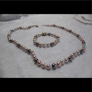Premier Designs, triple pearl necklace & bracelet